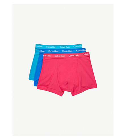 CALVIN KLEIN Pack of three Modern Essentials classic-fit stretch-cotton trunks (A+amora