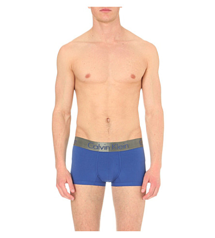 CALVIN KLEIN Zinc low-rise jersey trunks (Aztec+blue