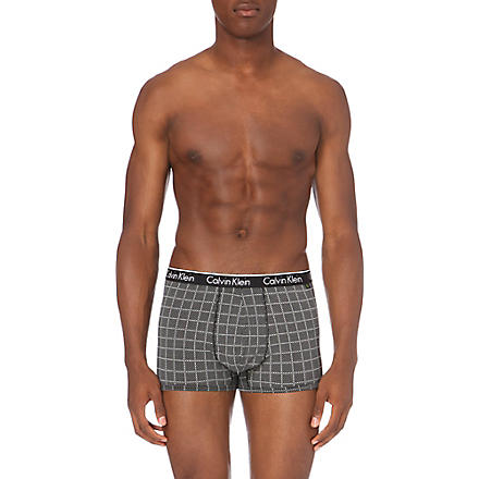CALVIN KLEIN Cotton-blend patterned trunks (Black