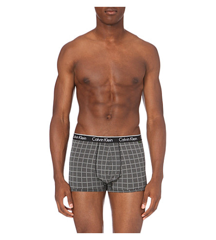 CALVIN KLEIN Patterned stretch-cotton trunks (Black