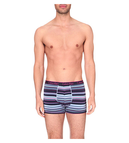 CALVIN KLEIN Patterned stretch-cotton trunks (Lucas+stripe+blue