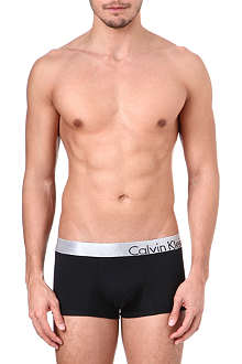 CALVIN KLEIN Bold metallic-waistband micro trunks