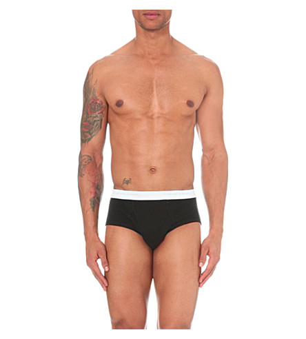 CALVIN KLEIN Pack of three cotton briefs (Black