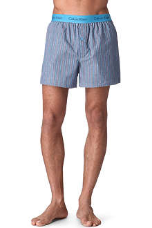 CALVIN KLEIN Striped woven-cotton trunks