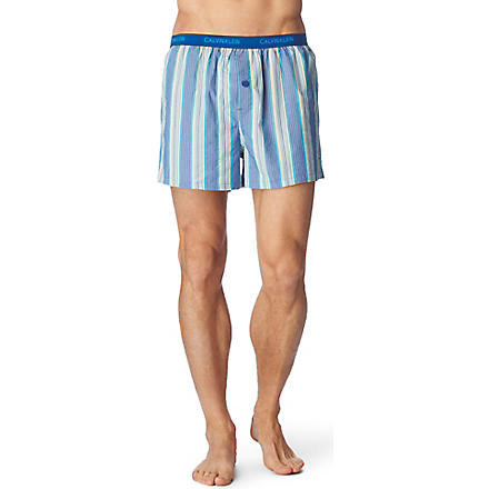 CALVIN KLEIN Woven slim fit boxer shorts (Percy stripe-atlantis