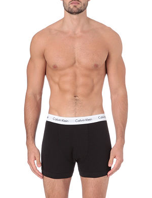 CALVIN KLEIN Pack of three stretch–cotton trunks