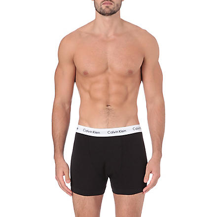 CALVIN KLEIN Three pack stretch–cotton trunks (Black/grey/white