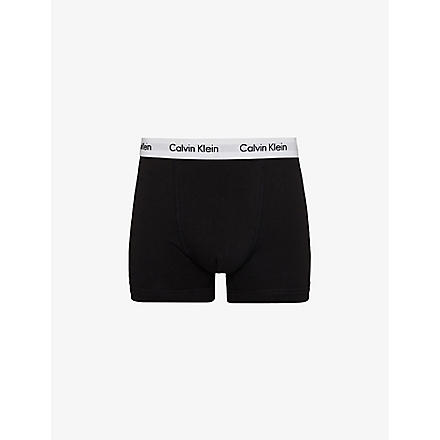 CALVIN KLEIN Three pack stretch–cotton trunks (Black