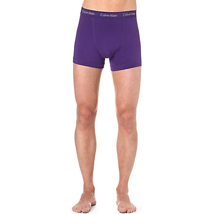 CALVIN KLEIN Three pack stretch–cotton trunks (Waterfall/eggplant/eel