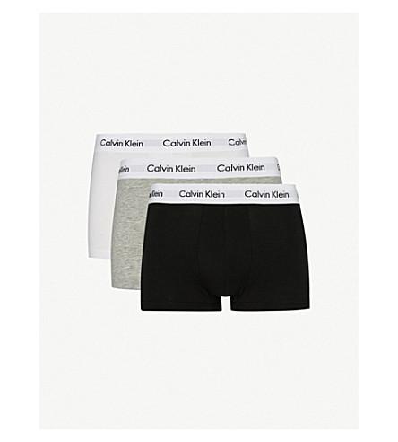 CALVIN KLEIN 棉弹力三件装低腰树干 (黑色/白色/灰色