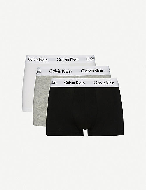 CALVIN KLEIN Cotton Stretch pack of three low-rise trunks