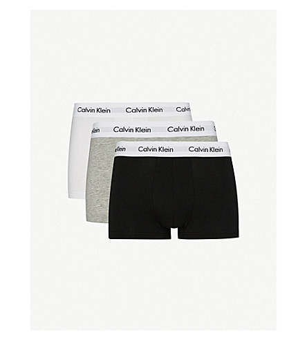 CALVIN KLEIN Cotton Stretch pack of three low-rise trunks (Black/white/grey
