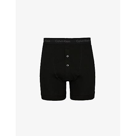 CALVIN KLEIN Button-fly boxer briefs (Black