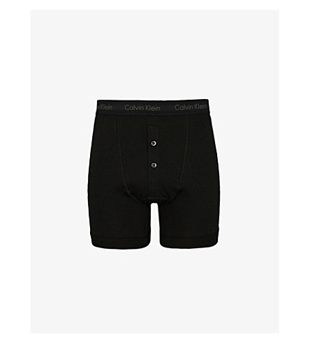 CALVIN KLEIN Button-fly cotton-jersey boxer briefs (Black