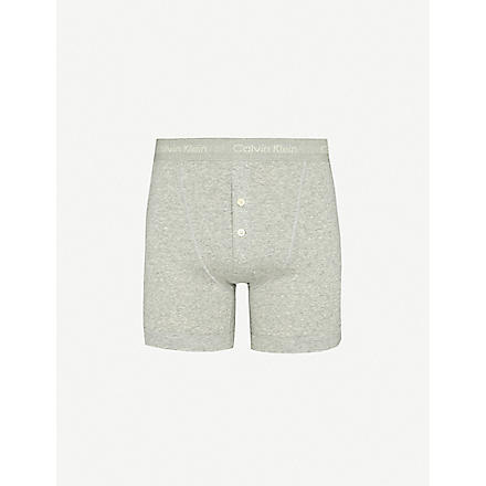 CALVIN KLEIN Button-fly boxer briefs (Grey: grey