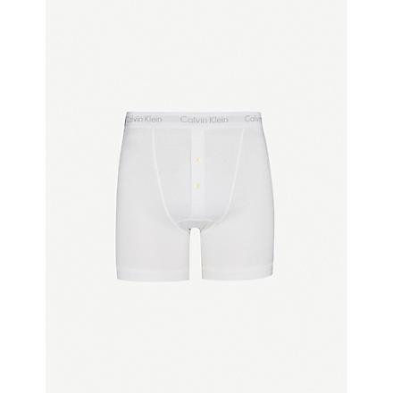 CALVIN KLEIN Button-fly boxer briefs (White