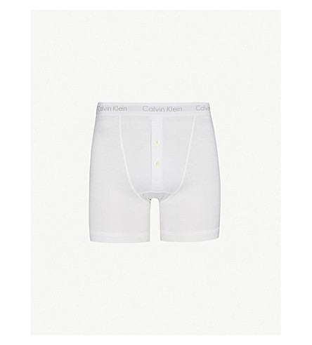 CALVIN KLEIN Button-fly boxer briefs (White
