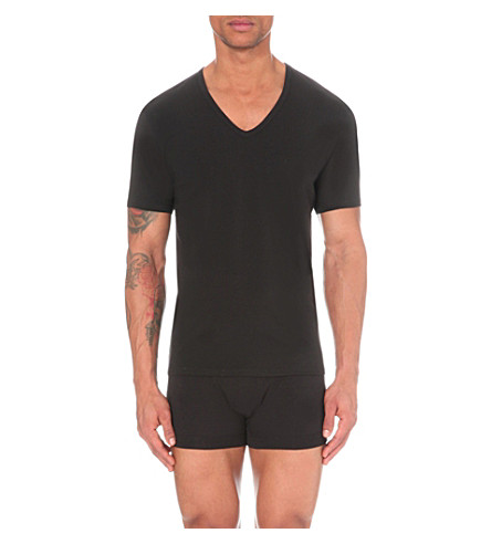 CALVIN KLEIN CK One Pack of two v-neck stretch-cotton t-shirts (Black