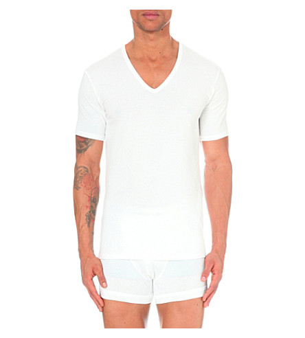 CALVIN KLEIN Pack of two v-neck stretch-cotton t-shirts (White