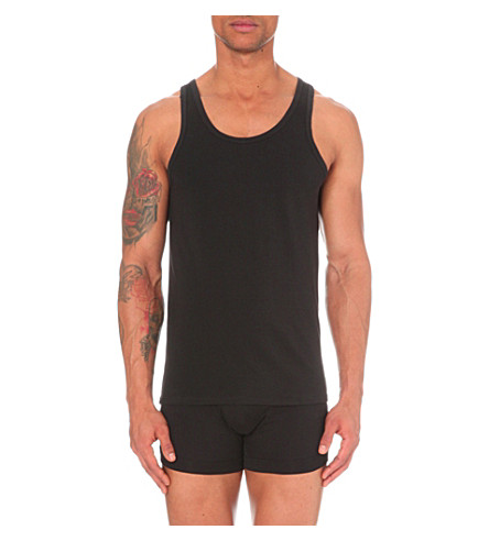 CALVIN KLEIN Two pack crew–neck vests (Black