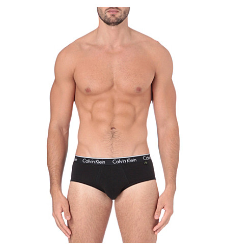 CALVIN KLEIN Two pack stretch–cotton briefs (Black