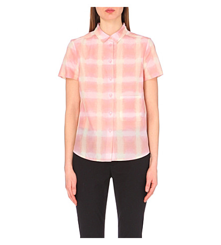 MARC BY MARC JACOBS Blurred gingham silk-blend shirt (Piggy pink multi
