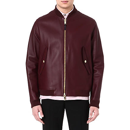 PAUL SMITH LONDON Bonded leather jacket (Burgundy