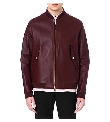 PAUL SMITH LONDON Bonded leather jacket (Burgundy
