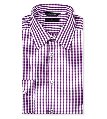 PAUL SMITH LONDON Gingham regular-fit single-cuff shirt (Mauve