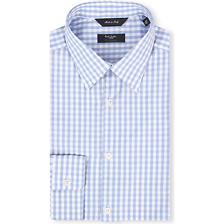 PAUL SMITH LONDON Gingham regular-fit single-cuff shirt (Sky