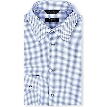 PAUL SMITH LONDON Micro-houndsooth regular-fit single-cuff shirt (Sky