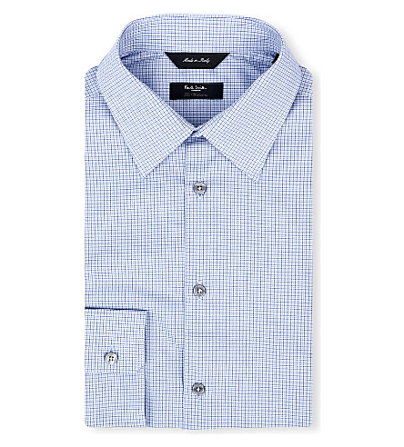 PAUL SMITH LONDON Micro-houndsooth regular-fit single-cuff shirt (Sky