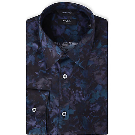 PAUL SMITH LONDON Digi-floral regular-fit single-cuff shirt (Navy