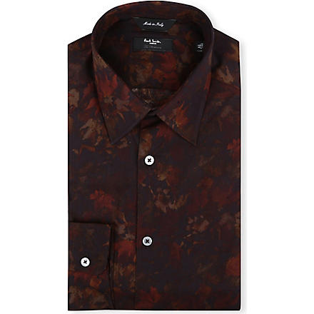 PAUL SMITH LONDON Digi-floral regular-fit single-cuff shirt (Rust