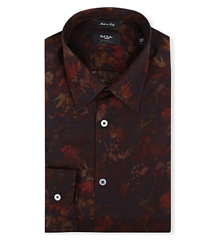 PAUL SMITH LONDON Digi-floral regular-fit single-cuff shirt (Rust