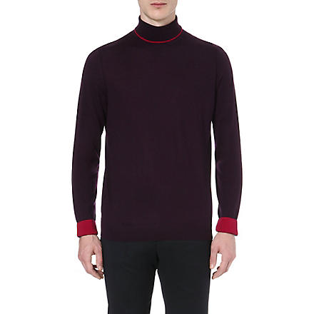 PAUL SMITH LONDON Contrasting roll-neck jumper (Damson