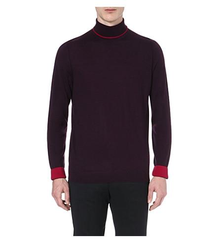 PAUL SMITH LONDON Contrasting roll-neck jumper (Damson
