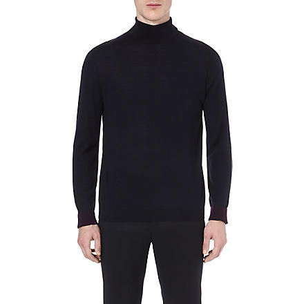 PAUL SMITH LONDON Contrasting roll-neck jumper (Navy