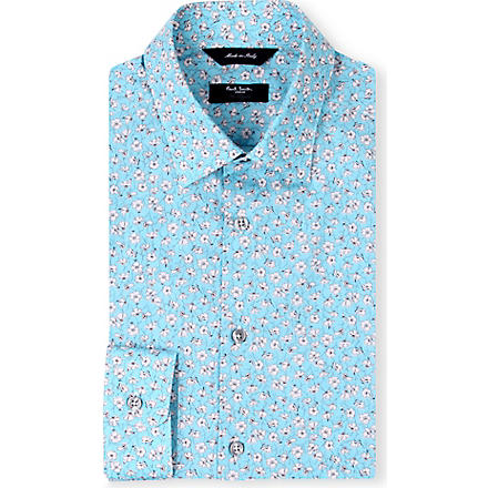 PAUL SMITH LONDON Slim-fit floral shirt (Turq