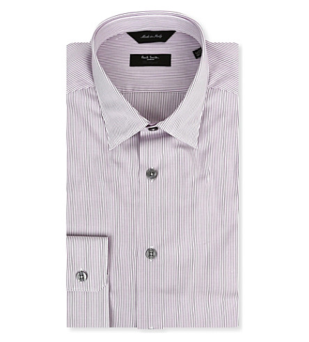 PAUL SMITH LONDON Striped regular-fit single-cuff shirt (Mauve