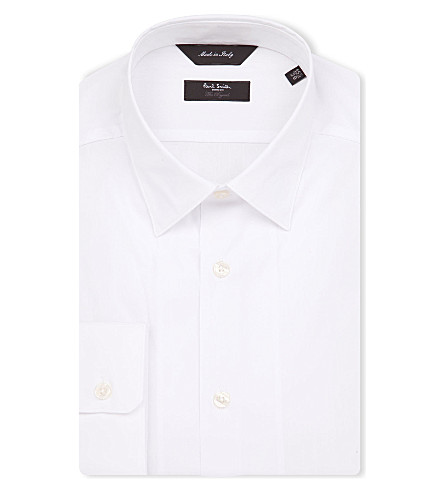 PAUL SMITH LONDON Dot-jacquard tailored-fit shirt (White