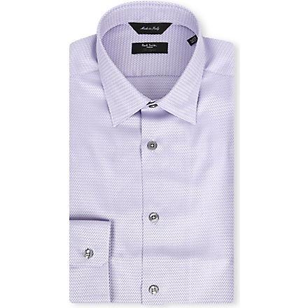 PAUL SMITH LONDON Chevron slim-fit single-cuff shirt (Mauve