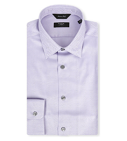 PAUL SMITH LONDON Chevron slim-fit single-cuff shirt (Mauve