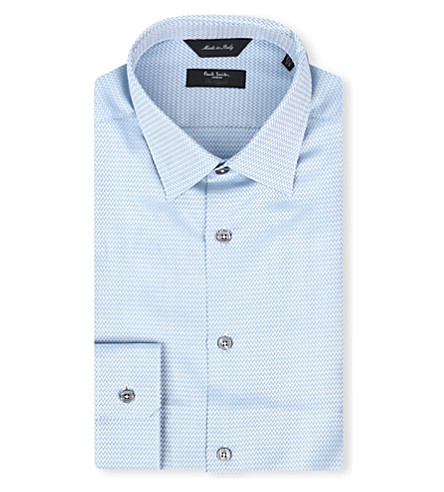 PAUL SMITH LONDON Chevron slim-fit single-cuff shirt (Sky