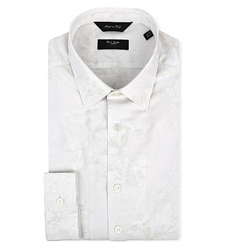 PAUL SMITH LONDON Floral-jacquard slim-fit single-cuff shirt (Ecru