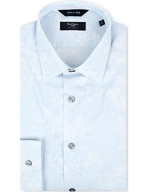 PAUL SMITH LONDON Floral-jacquard slim-fit single-cuff shirt