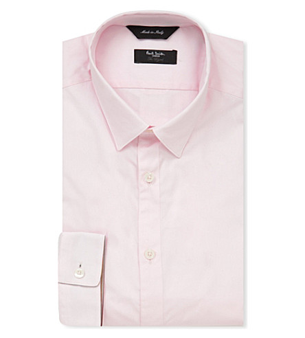 PAUL SMITH LONDON Plain slim fit single cuff shirt (Pink