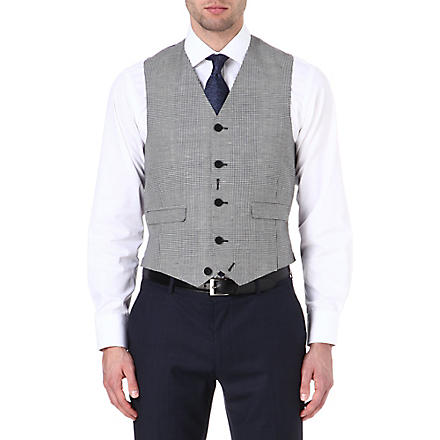 PAUL SMITH LONDON Check printed waistcoat (Grey