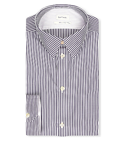 PAUL SMITH MAINLINE Contrast back striped single-cuff shirt (Black