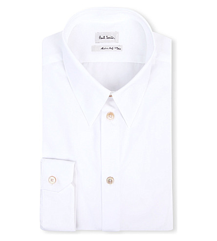 PAUL SMITH MAINLINE Gold-button slim-fit shirt (White